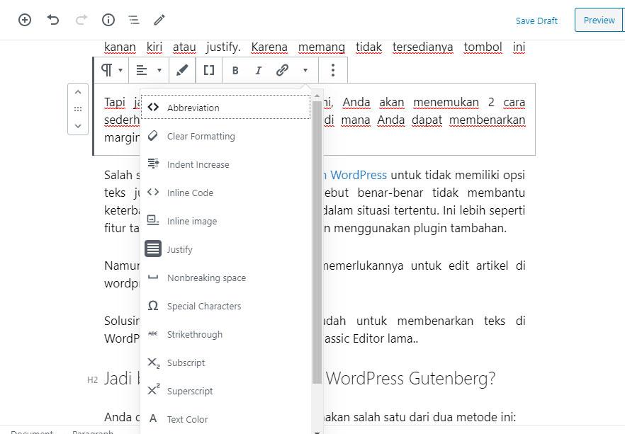 Cara Rata kanan Kiri Justify Wordpress Gutenberg