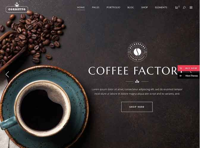 Desain Website Coffee Resto Corretto