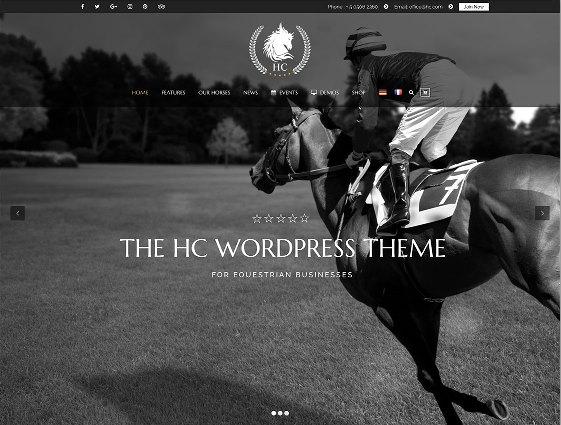 Website Hewan horse club wordpress theme