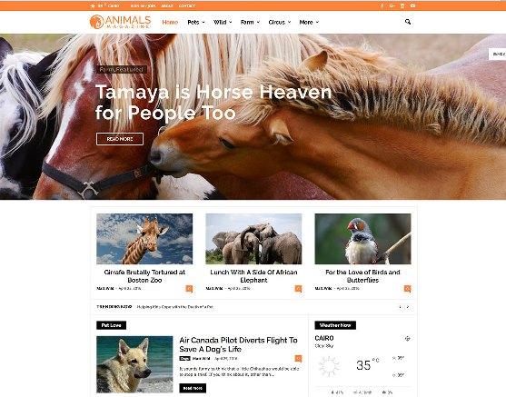 Website Hewan newsmag animal magazine wordpress website template