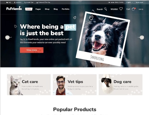 Website Hewan pawfriends animal wordpress theme