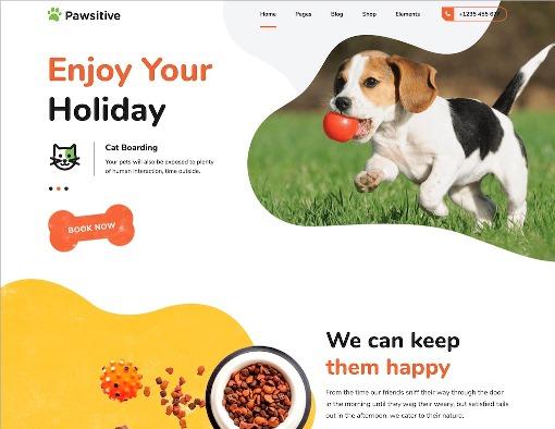 Website Hewan pawsitive animal wordpress theme