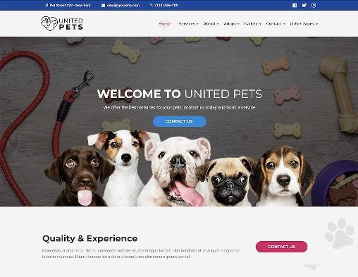 Website Hewan united pets animal wordpress theme