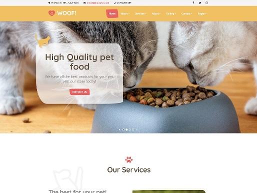 Website Hewan woof animal wordpress theme